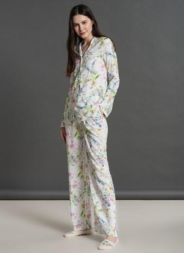Dagi Gömlek Uzun Kollu Pijama Takımı Ekru
